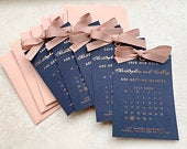 Navy Foil Save the Date Calendar, Save the date Tag, Wedding save the date, Wedding invitation, Ribbon, Silver, Gold, Rose Gold