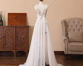 Deep VNeck Prom Dress Long Split Front Wedding Dress White Tulle Bridesmaid Dress with Lace Appliques Sexy Backless Special Occation Dress
