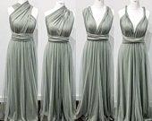 Multiway Infinity Bridesmaid Dress for Weddings Fossil Green Multiway Bridesmaid Dress for Weddings