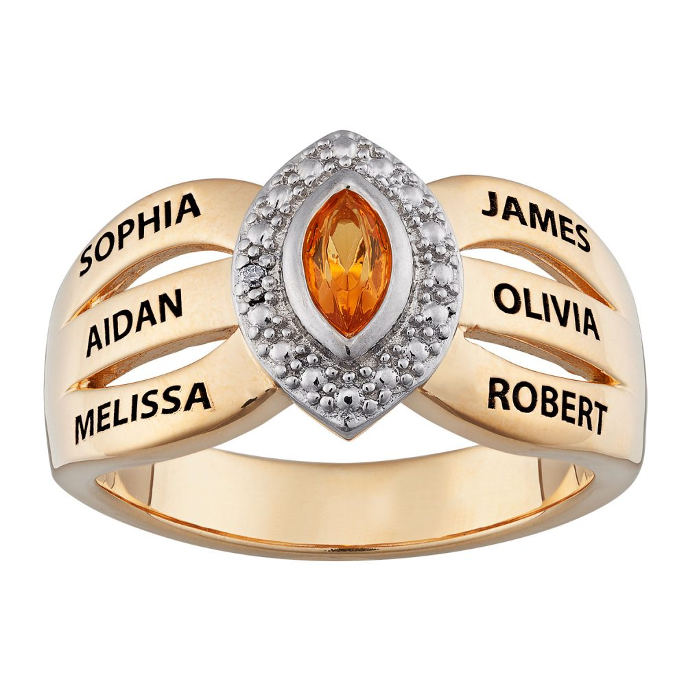 Gold over Sterling Mother's Marquise Birthstone & Names Ring