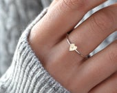 MILLICENT Dainty Initial Ring, Personalized Heart Ring, Sterling Silver Initial Ring, Gold Stacking Ring, Custom Initial, Gift For Her, Mom