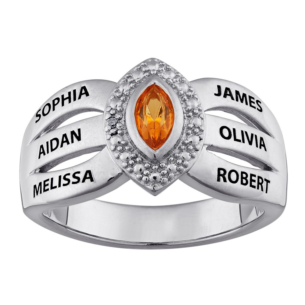 Sterling Silver Mother's Marquise Birthstone & Names Ring