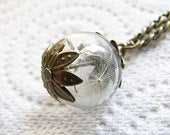 Real Dandelion Seeds Necklace, Botanical Jewelry, Gift for Her, Boho Flower Necklace, Mothers Day Gift, Wildflower Necklace