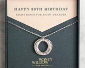 80th Birthday Necklace Silver 80th Birthday Gift for Mother 80th Gift Grandma 8 rings 8 decades