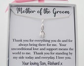 Mother of the Groom necklace jewery gift from son groom for mom of groom gift, mom wedding day necklace jewelry gift, sterling silver