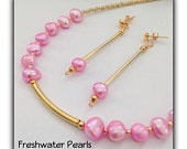 Pretty Summer Pink Gold Freshwater Pearl Necklace with Earrings Gift Boxed Gift Birthday Ladies Mother Girlfriend