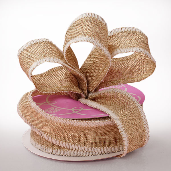 "1 1/2"" X 10 Yards Mesh White Side Stitch Burlap Ribbon by Ribbons.com"