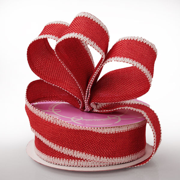 "1 1/2"" X 10 Yards Mesh Red Side Stitch Burlap Ribbon by Ribbons.com"