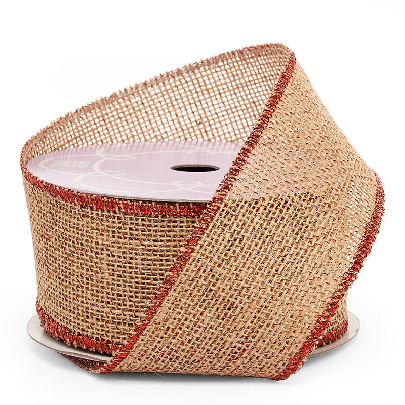 "2 1/2"" X 10 Yards Metallic Mesh Red/Natural Iridescent Burlap Ribbon by Ribbons.com"