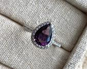 Pear Cut Solitaire Ring, Bridal Ring, Promise Ring, Birthday Gift for Women, Wedding Anniversary Jewelry, 2.0ct Violet Amethyst, 925 Silver