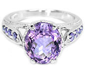 Edwardian Flapper style 14k White Gold Vermeil Amethyst Ring with Hearts CZ Shoulders (size USA 6.5, UK N) Truly Venusian