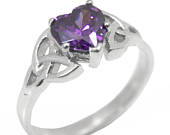 Trinity Knot Ring Sterling Silver 1ct Heart Amethyst Diamond Unique 253
