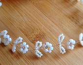 Pearl Vine Wedding Hair Vine Floral Pearl Bridal Hair Vine Boho Headband Halo Rhinestone Headpiece Delicate Floral Hair accessory