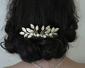gold pearl wedding comb leaf vintage style tiara hair comb pearl crystal wedding hair accessories Downton Abbey wedding