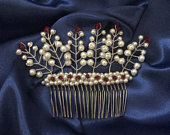 Holly pearl cluster comb (bridal, wedding, bridesmaid, comb, tiara, prom, homecoming, pageant, Christmas, winter, pearl)