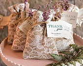 12 x Unique Wedding Favor Vintage Style Drawstring Wedding Favour Bags Burlap and White Lace Pack of 12 Shabby Chic Wedding