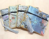 Gift bags Silk Embroidered Zip Pouch Asian chic Pattern design, lined Jewelry Pouch Storage gift bags, wedding favors Supply