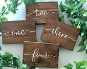 Wood wedding table numbers, rustic centre piece, wood table names, dark oak, light oak, wedding decor, wood wedding signs, barn theme wooden