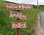 Large wedding signpost personalised rustic wooden wedding this way venue directional sign