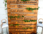 Hand Painted Rustic Personalised Order Of The Day Wedding Sign / Pallet Wood Sign / Order Of Events / Wedding Reception / Wedding Decor
