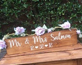 Rustic personalised wooden wedding sign, Mr and Mrs Table Top decoration, handpainted barn wedding decor