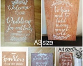 Wooden Wedding Sign Bundle personalised/custom wedding signs, rustic wedding decor