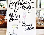 Signature Cocktails Bar Sign His Hers Wooden Sign Hand Painted Rustic Sign Rustic Wedding