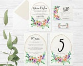 Rustic Wedding Invitation suite Floral wedding Rustic Invitation Wooden Rustic Country Wedding Printable Invitation