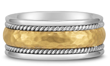 Domed Hammered Wedding Band in 14K Two-Tone Gold