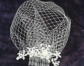 Bridal Birdcage wedding veil. Diamante and pearl slivertone comb attached to 9 Ivory French net veiling. FREE UK POSTAGE