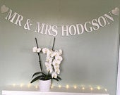 Silver glitter Mr Mrs custom wedding bunting, personalised wedding banner, wedding reception decoration, paper party bunting