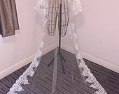 Chapel Length 2 Tier Ivory Wedding Veil with Lace Trimming and Sequins