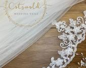 Wedding Veil, Beaded Lace Edge 2 Tier Soft Tulle Veil, 87 inches, 220 cm, Ivory or White Veil, 87 Chapel Length, Beaded Lace Border