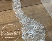 87 Beautiful French Lace Wedding Veil, 2 Tier Soft Tulle Lace Edge Veil, 87 inches, 220 cm Ivory Veil, Chapel Length, Lace Wedding Veil