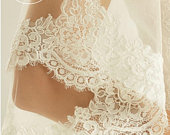 Spanish Lace Edge Wedding Veil, 2 Tier Soft Tulle Lace Veil, 118 inches, 300cm Ivory Veil, Cathedral Length Veil, 118