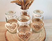 Mr Mrs Decorated Glass Jars Wedding Decor Vase Rustic Wedding Hessian/ Burlap Barn/Country Wedding Summer Autumn Wedding