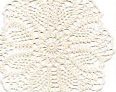 Crochet doilies Crocheted Lace Doily Rustic farmhouse Vintage Inspired Natural cotton Round Placemat Cream Wedding Country Style Decor