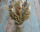 Rustic Autumn Dried Flower Jar Posy Wedding Table Centerpiece