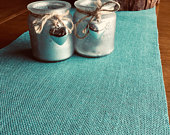 Light Teal Hessian Burlap Table Runner