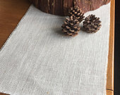Winter White Hessian Burlap Table Runner