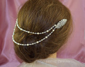 Bridal Hair Drape, Hair Adornment, Hair,Jewellery, Boho, Art Deco Vintage Saffie Comb, Hair Accessory Headpiece Jewellery