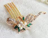 Wedding green crystalHair Comb, Golden green Crystal Bride headpiece, Vintage headpiece, golden wedding hair comb, emerald green hair clip