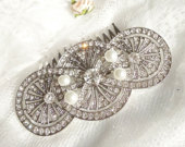Big Art Deco styled hair comb with pearls Edwardian silver hair comb Vintage inspired 1930s wedding 6