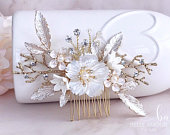 Floral hair comb for wedding Bridal headpiece Brides Flower hair piece Ivory flower comb Gold hair comb Hair flower Brides hair accessories