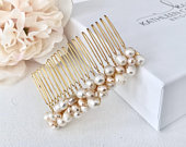 Pearl hair comb, Freshwater pearls, Wedding hair piece, Hair accessories for the Bride, Hair jewelry, Gold bridal comb