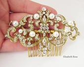 Antique Style Pearl Hair Comb for Bride, Gold Decorative Hair Comb, Gold Hair Piece for Bride, Gold Wedding Hair Comb, Art Deco Style Comb