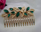 Gold and Emerald Green Wedding Comb