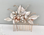 Bridal hair piece, Rose gold Leaf Hair comb , Stunning Bridal Headpiece, Hair accessories for the discerning bride, Wedding statement,