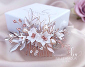 Bridal hair comb Rose gold hair piece White flower comb Floral bridal headpiece Large bridal hair accessories Wedding comb Brides hairpiece