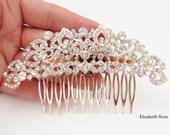 Curved Rose Gold Hair Comb, Bridal Rose Gold Crystal Hair Comb, Wedding Day Hair Comb, Large Rose Gold Crystal and Rhinestone Hair Comb